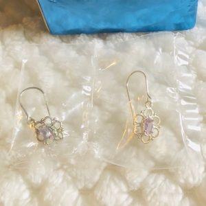 New Avon sterling silver amethyst drop earrings